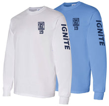 Load image into Gallery viewer, Ignite Long Sleeve Tshirt Flame Logo Number/Sleeve (ADULT)