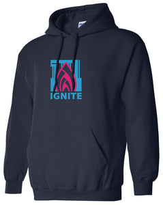 Ignite Hoodie Flame Logo Pink/Navy (Adult and Youth)