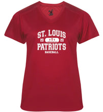 Load image into Gallery viewer, Patriots Collegiate Logo – V-neck Badger Softlock Tee - 100% Performance Poly (LADIES)