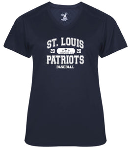 Patriots Collegiate Logo – V-neck Badger Softlock Tee - 100% Performance Poly (LADIES)