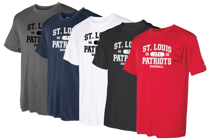 Patriots Collegiate Logo - Badger Softlock Tee- 100% Performance Poly (ADULT and YOUTH)