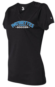 Patriettes Soccer Logo – Badger Performance T-Shirt V-Neck - 100% Performance Poly (LADIES)