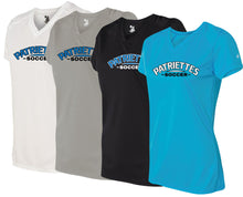 Load image into Gallery viewer, Patriettes Soccer Logo – Badger Performance T-Shirt V-Neck - 100% Performance Poly (LADIES)