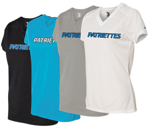 Patriettes Standard Logo – Badger Performance T-Shirt V-Neck - 100% Performance Poly (LADIES)