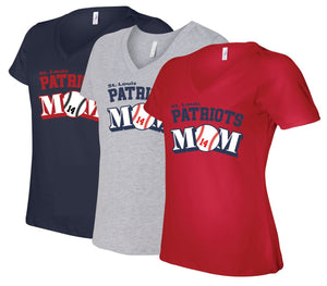 Patriots Mom Logo – V-neck Premium T-Shirt - 100% Ringspun Cotton (LADIES)