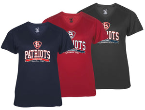 Patriots STL Logo – V-neck Badger Softlock Tee - 100% Performance Poly (LADIES)