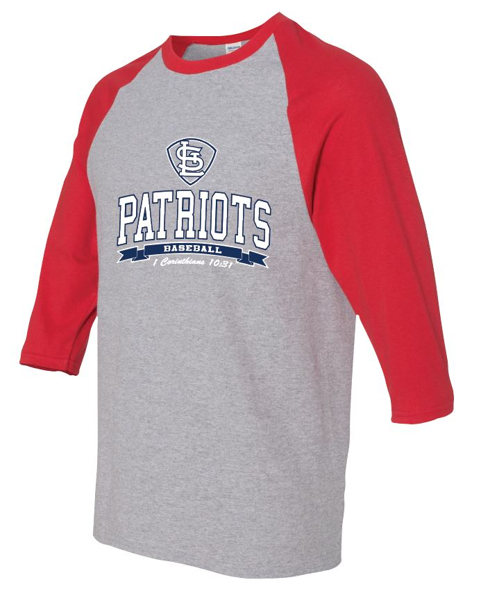 Patriots STL Logo - Baseball 3/4 Sleeve Tee - 100% Cotton (ADULT and YOUTH)