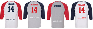 Patriots Collegiate Logo - Baseball 3/4 Sleeve Tee - 100% Cotton (ADULT and YOUTH)