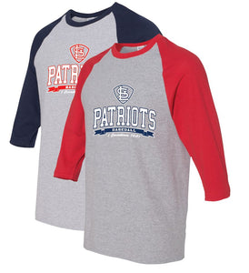 Baseball T-Shirt (3/4 sleeve) ADULT and YOUTH-STL Patriots