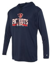 Load image into Gallery viewer, Patriots STL Logo - Badger B-Core Long Sleeve Hooded T-Shirt - 100% Performance Poly (ADULT and YOUTH)