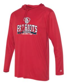 Patriots STL Logo - Badger B-Core Long Sleeve Hooded T-Shirt - 100% Performance Poly (ADULT and YOUTH)