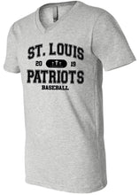 Load image into Gallery viewer, Patriots Collegiate Logo - V-Neck Premium T-Shirt - 100% Ringspun Cotton (ADULT and YOUTH)
