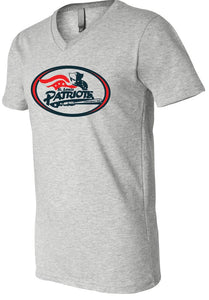 Patriots Traditional Logo - V-Neck Premium T-Shirt - 100% Ringspun Cotton (ADULT and YOUTH)