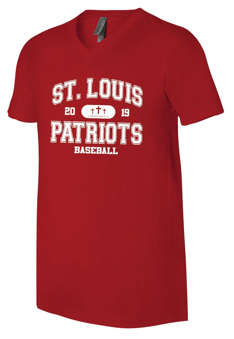 Patriots Collegiate Logo - V-Neck Premium T-Shirt - 100% Ringspun Cotton (ADULT and YOUTH)