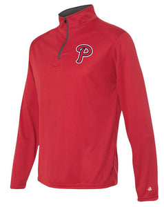 "Patriots ""P"" Logo - Badger B-Core Long Sleeve Quarter-Zip T-Shirt - 100% Performance Poly (ADULT and YOUTH)"