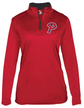 "Load image into Gallery viewer, Patriots ""P"" Logo - Badger B-Core Long Sleeve Quarter-zip T-Shirt - 100% Performance Poly (LADIES)"