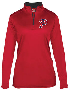 "Patriots ""P"" Logo - Badger B-Core Long Sleeve Quarter-zip T-Shirt - 100% Performance Poly (LADIES)"