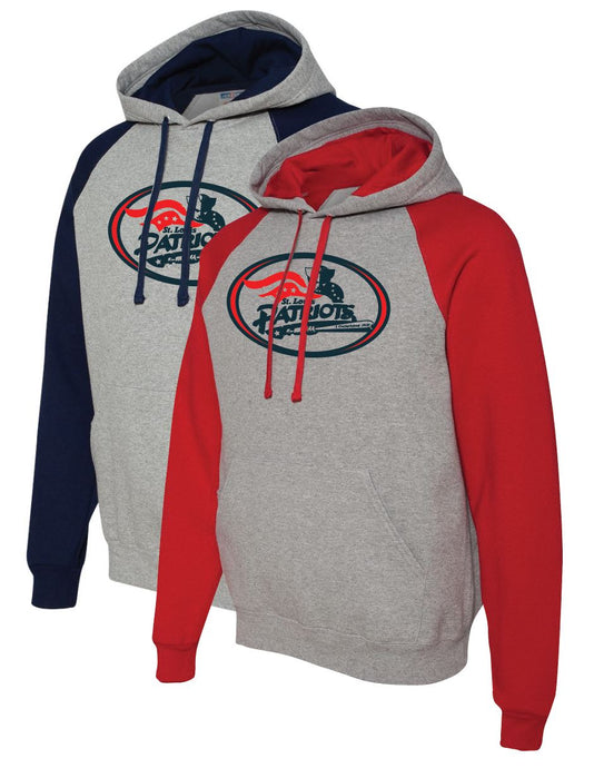 Patriots Traditional Logo - Bi-Color Hoodie Sweatshirt - Cotton Blend (ADULT)