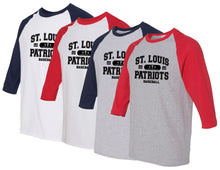 Load image into Gallery viewer, Patriots Collegiate Logo - Baseball 3/4 Sleeve Tee - 100% Cotton (ADULT and YOUTH)