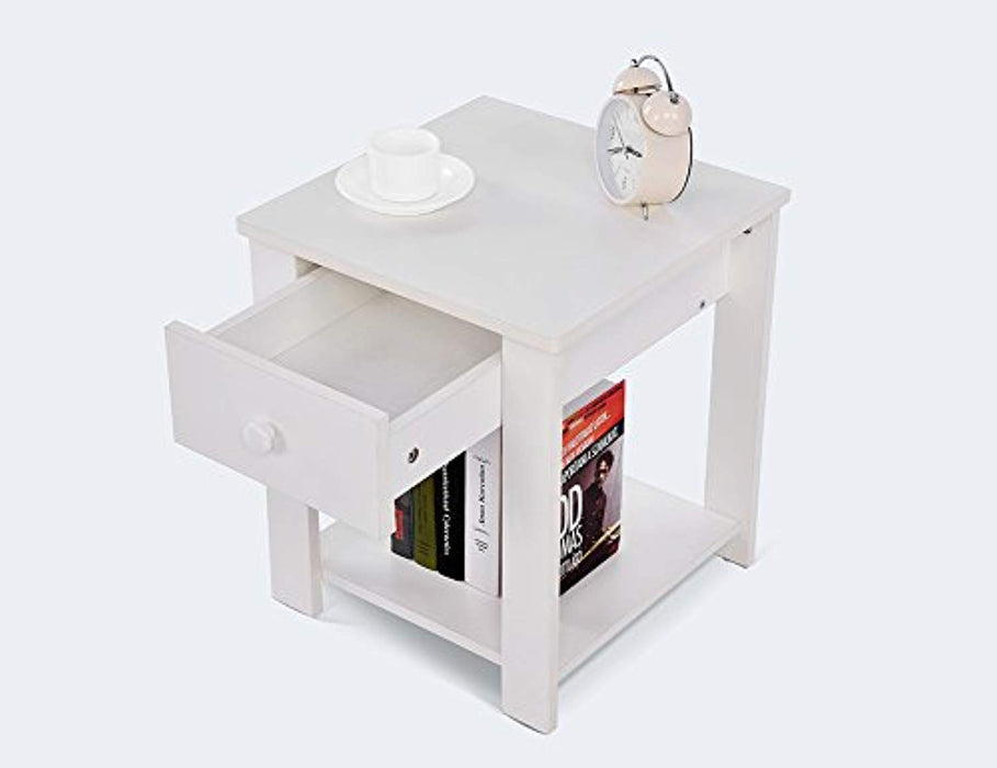 ADD ONE +1 Bedside Table Cabinet with Drawer and Shelf Storage Multipurpose End Side Table Home Furniture, White