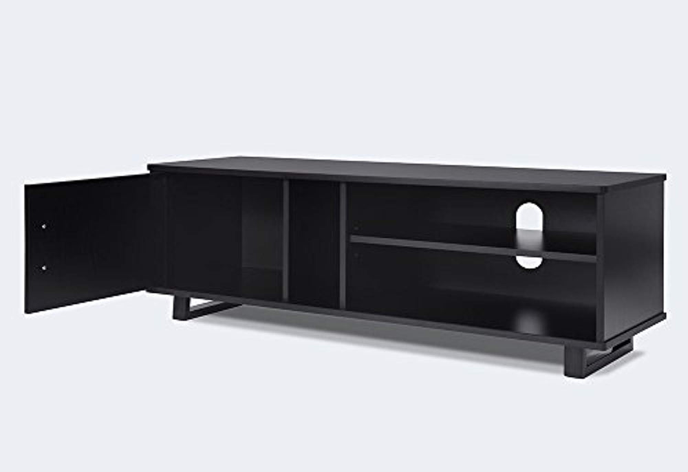 Ej. Life Wooden TV Stand,TV Unit Storage Console,TV Cabinet with two Shelves,for Living Room,Bedroom,Black