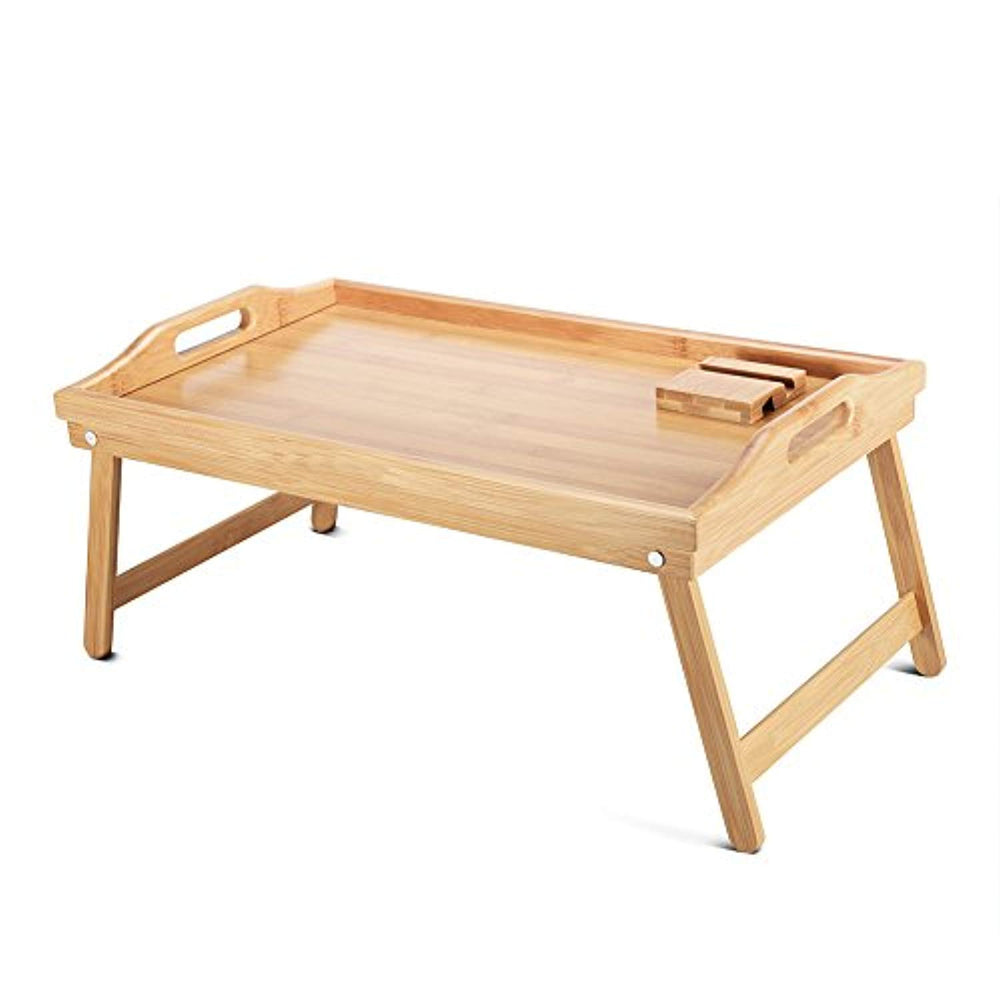 Wood Breakfast Bed Tray with Handle Foldable Legs