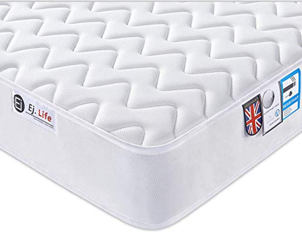 2FT6 Small Single 3D Breathable Fabric Mattress with Pocket Springs and Memory Foam - 9-Zone Orthopaedic Mattress - 8.7-Inch - White