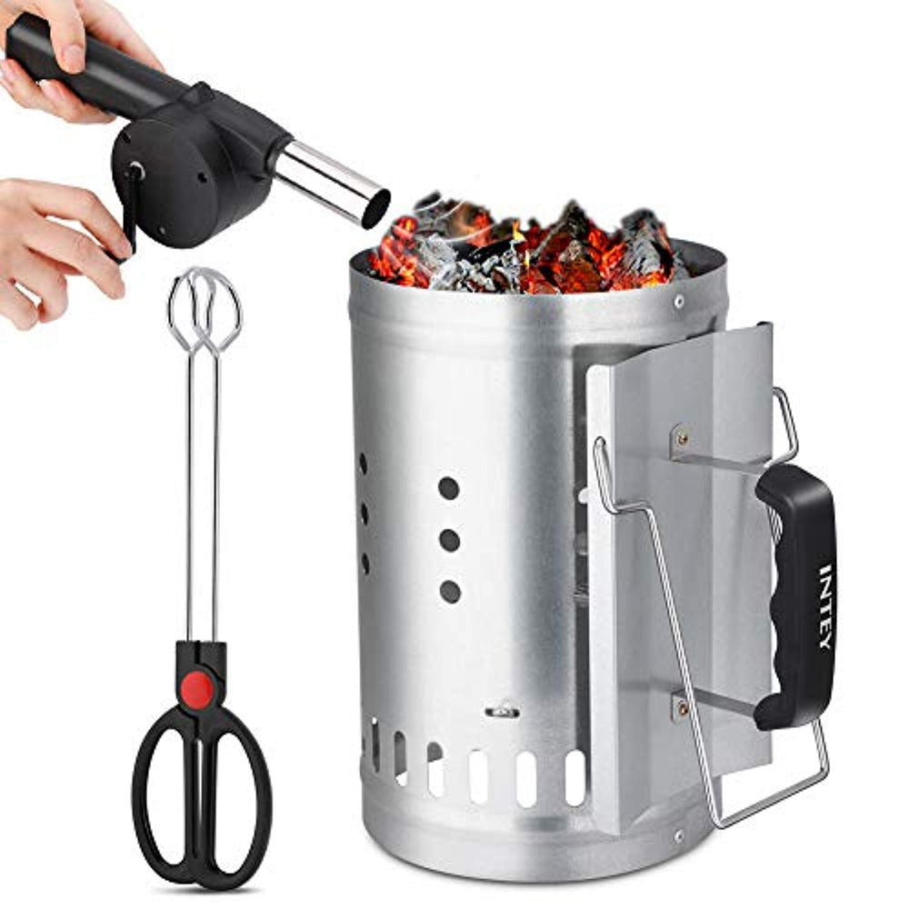 Lv. life Chimney Charcoal Starter Grill Barbecue BBQ Charcoal Charcoal Quick Starter Coal Starter with Safety Handle Fire Blower and Charcoal Tongs