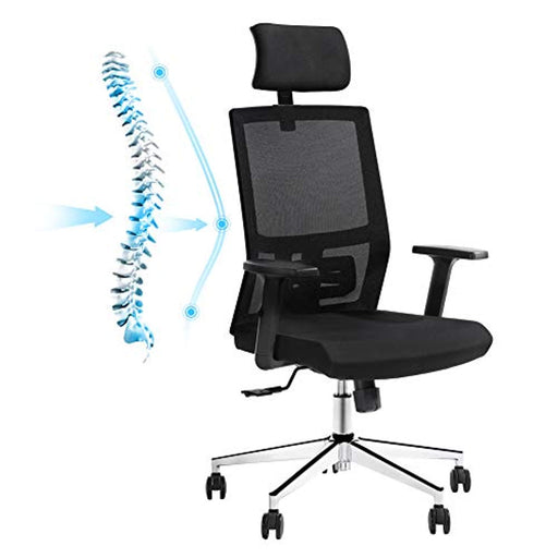 Ej. Life Ergonomic Office Chair, High Back Mesh Desk Chair, Adjustable Headrest and Lumbar Support, Computer Desk Task Chair