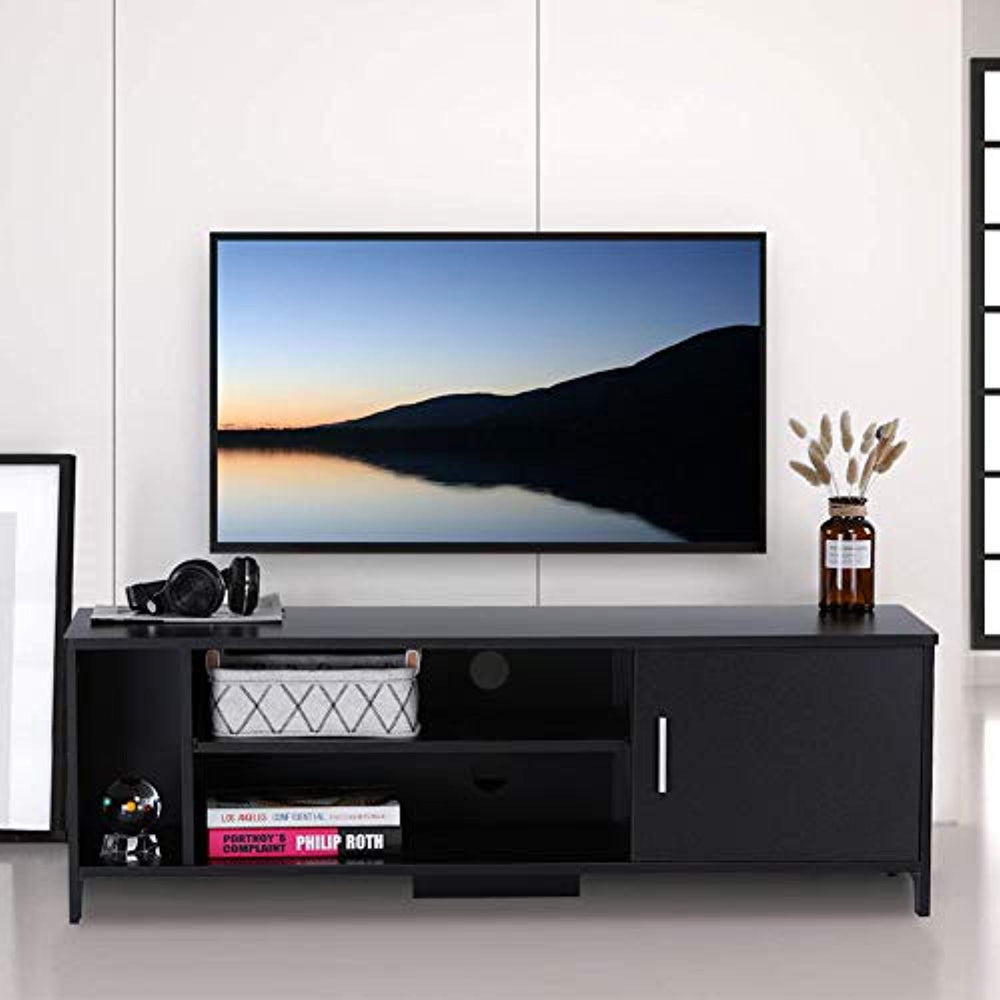 ADD ONE +1 TV Stand Cabinet Wooden TV Unit Storage Console with Shelves,for Living Room,Bedroom,Black