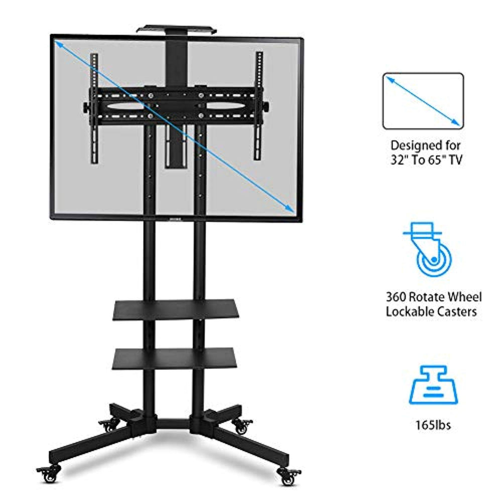 Lv. life TV Stand with Mount,Adjustable TV Stand with Wheels,Mobile TV Cart Floor Stand Mount Home Display Trolley - Black