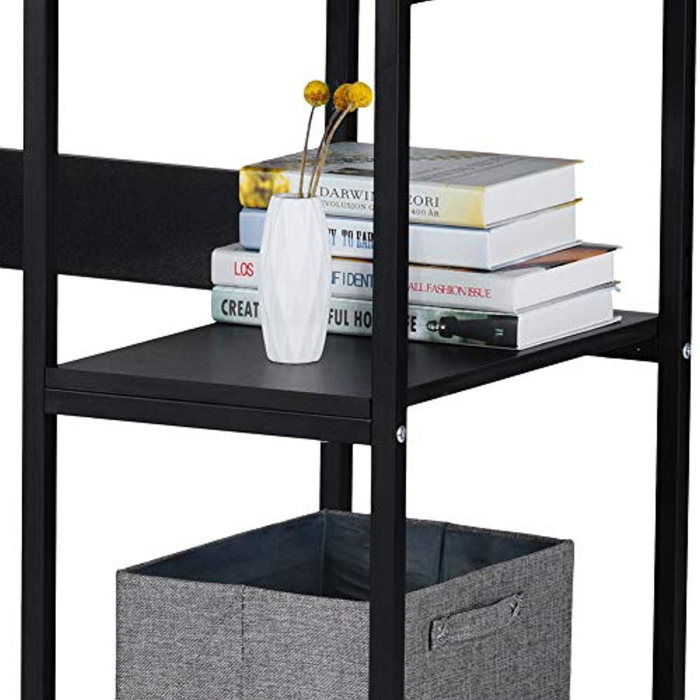 Lv. life Computer Desk, Steel Frame Computer Table with 2 Shelves,Home Office PC Table, Black