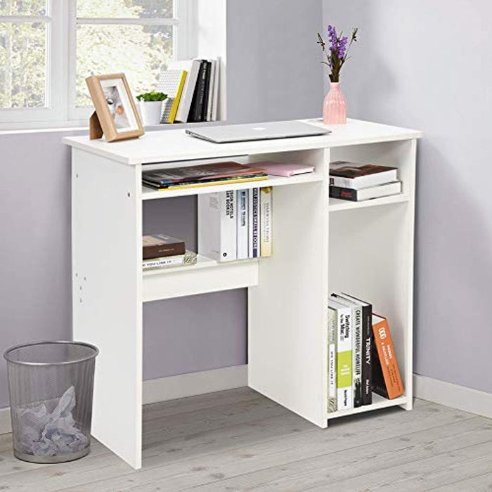 Ej. Life Computer Office Desk with Shelf Student Writing Desk for Home Office,White