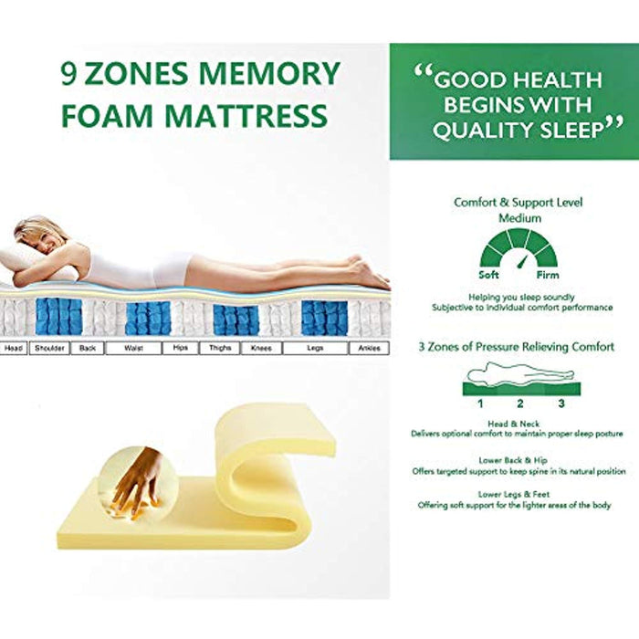 Aiiliving Double Bamboo Fiber Mattress, 4FT6 Double Pocket Sprung Mattress with Memory Foam - 9 Zone Orthopaedic Mattress