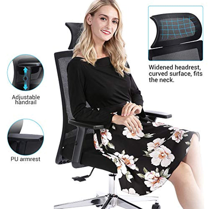 Ej. Life Ergonomic Office Chair High Back Mesh Desk Chair with Adjustable Seat Height, Tilt Tension, Lumbar Support and Wide headrest