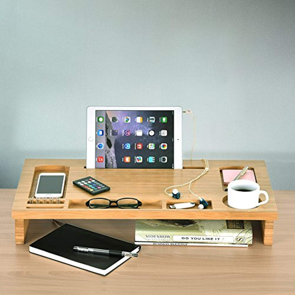 Bamboo Monitor Stand Riser Desktop Screen Stand with Storage for Computer and Office Supply