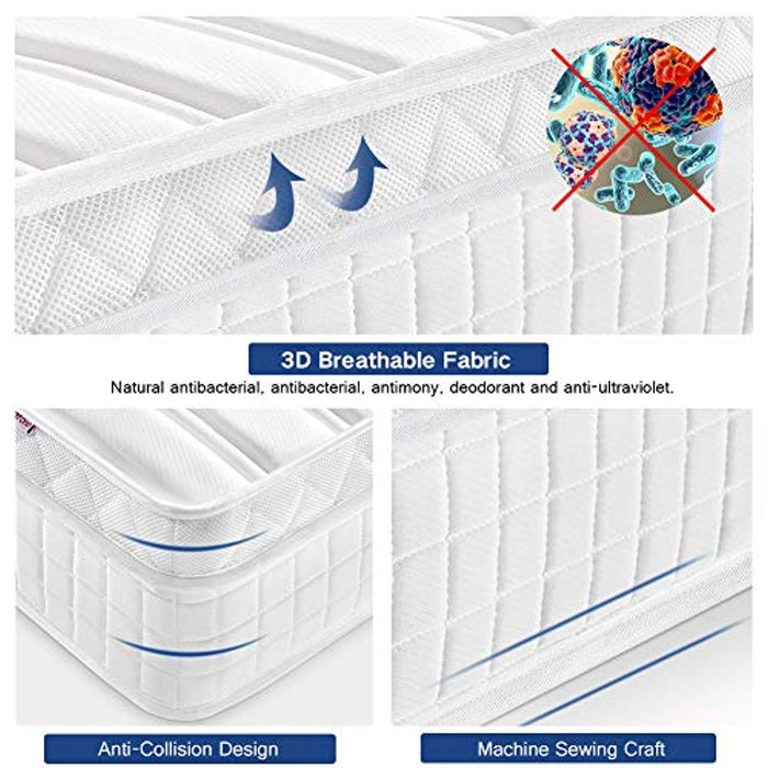 Aiiliving 3FT Single Pocket Sprung Mattress with Memory Foam Mattresses and 3D Breathable Fabric - Multi-Functional 9-Zone Orthopaedic Mattress - 10.6-Inch Deep