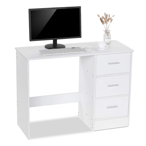 Lv. life Computer Desk with 3 Drawers, Home Office PC Table Workstation Dressing Table, White