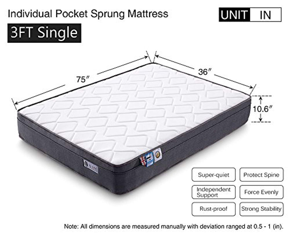 Pocket Sprung Mattress with Memory Foam, 10.6-Inch, 3FT Single