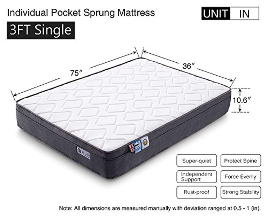 Aiiliving Pocket Sprung Mattress with Memory Foam, 10.6-Inch, 3FT Single