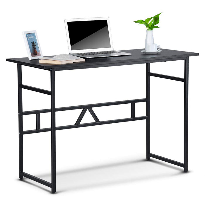 Lv. life Computer desk Steel Frame - Wooden Home Office Table,Computer PC Laptop Desk Study Table Workstation,Black