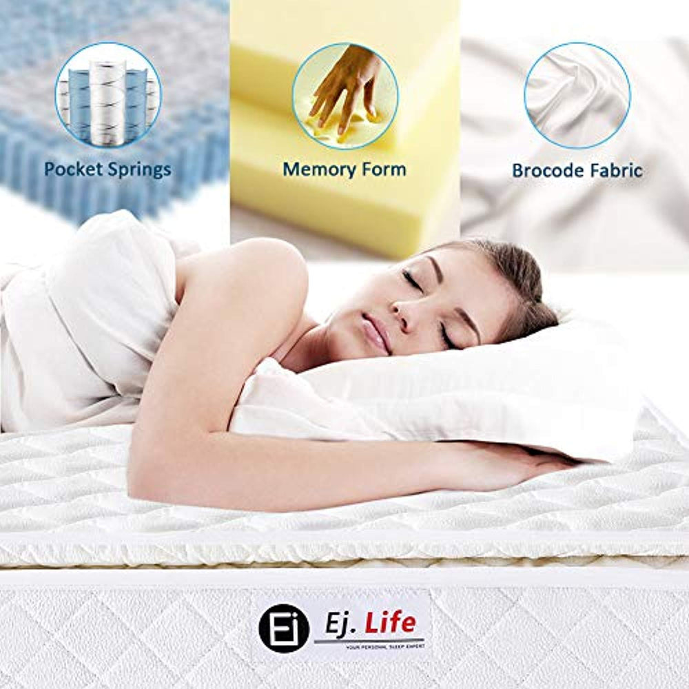 Ej. Life 4FT Small Double 9-Zone Memory Foam Mattress with Pocket Springs - Orthopaedic Mattress - 10.6-Inch