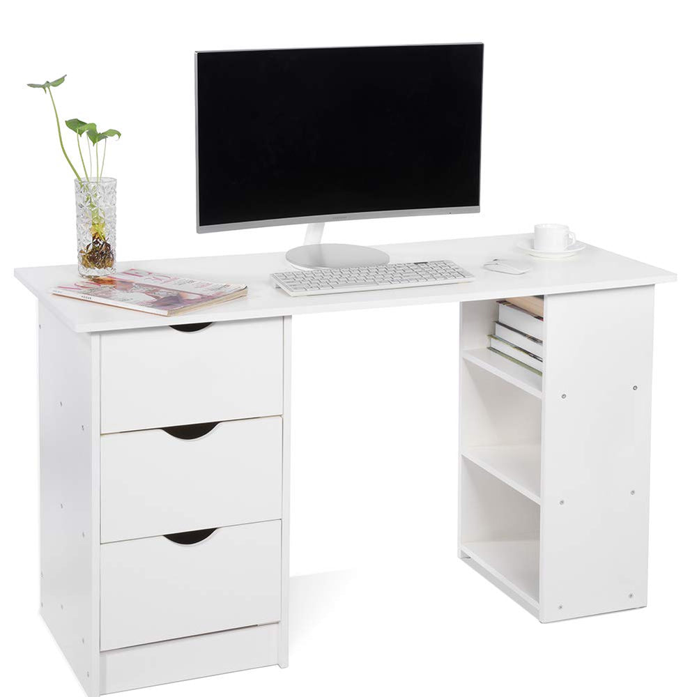 Computer Desk with 3 Drawers and 3 Shelves, Home Office PC Table Workstation, White