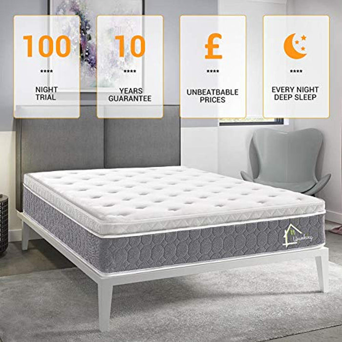 Aiiliving 3FT Single Pocket Sprung Mattress with Memory Foam and 3D Breathable Fabric 9-Zone Support System -100 Nights Trial