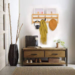 Wall Mount Coat Rack with Hooks Bamboo Entryway Wall Rack with 7 Hooks for Living Room, Bedroom, Bathroom and Kitchen Coat Rack Wall Mounted 16.5 x 6.3 x 2.7 inch