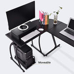 L-Shaped Office Computer Desk, Large Corner PC Table Laptop Workstation with Mobile Computer Stand and Computer Host Bracket