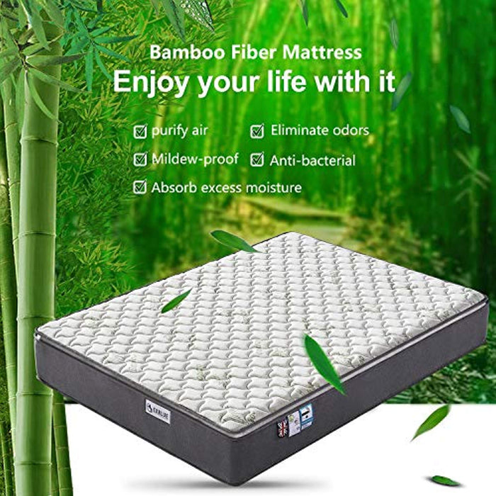 Aiiliving Small Double Bamboo Fiber Mattress, 4FT Small Double Pocket Sprung Mattress with Memory Foam - 9 Zone Orthopaedic Mattress