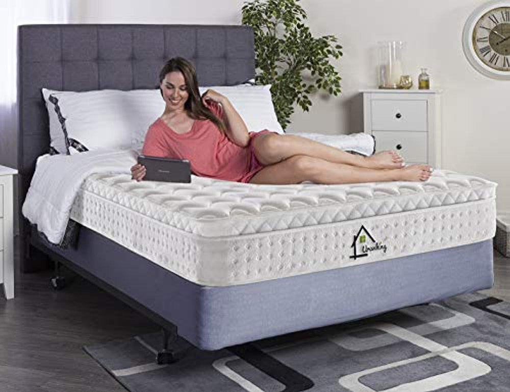 Ej. Life 4FT6 Double Pocket Sprung Mattress with Tencel Fabric - Multi-Functional 9-Zone Orthopaedic Mattress with Memory Foam - 10.6-Inch Deep