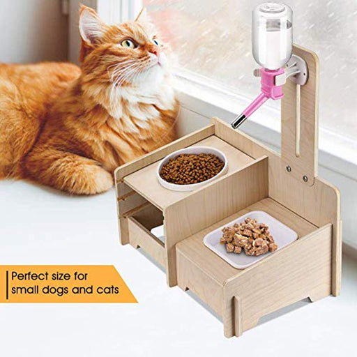 Lv. life Wooden Dog Cat Bowls Holder Set with 3 Different Adjustable Height Level, Elevated Pet Feeding Station Stand with Porcelain Food bowl/Dish and Water Bottle