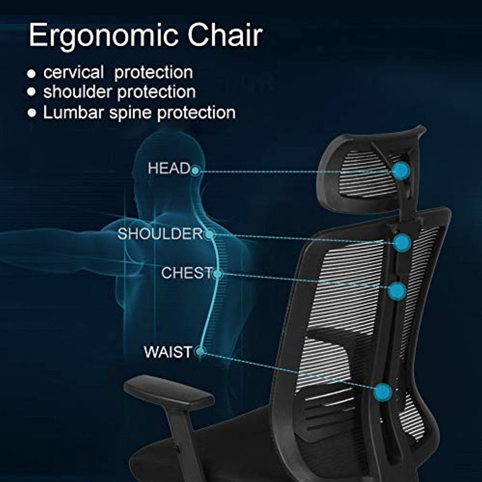 Ej. Life Mesh High Back Extra Thicker Padded Swivel Office Chair with Arm Rests Height Adjustable and Head Support 3 Adjustable Tilt Tension - Black